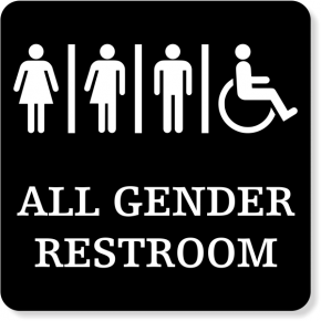 "Plastic All Gender Handicapped Sign | 6"" x 6"""