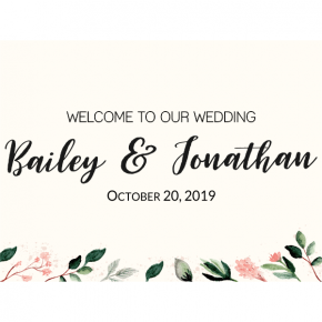 Personalized Blush Floral Wedding Welcome Sign
