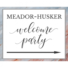 Personalized Marble Welcome Party Directional Sign