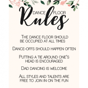 Blush Floral Dance Floor Rules Sign