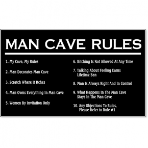 """Man Cave Rules Engraved Plastic Sign 