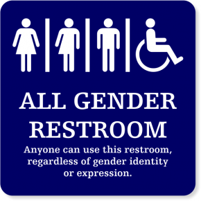 "Plastic ALL GENDER Handicapped With Message Sign | 6"" x 6"""