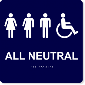"All Neutral Handicapped Sign | 10"" x 10"""