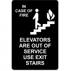 "In Case of Fire Use Stairway for Exit Engraved Plastic Sign | 9"" x 6"""