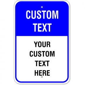 6 Line Custom Text Blue Background Aluminum Sign
