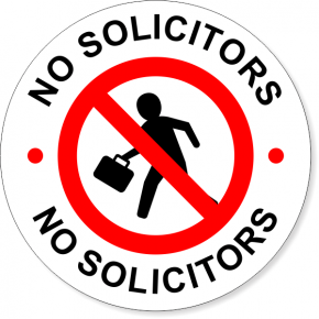 "6"" Round No Soliciting Decal"