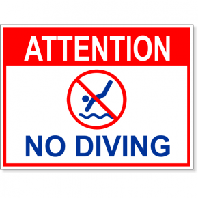 "Attention No Diving Full Color Sign | 6"" x 8"""