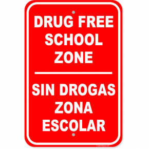 "Bi Lingual Drug Free Aluminum Sign | 18"" x 12"""