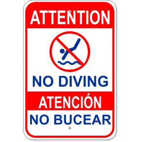 "Bilingual Attention No Diving Aluminum Sign | 18"" x 12"""