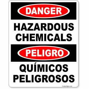 "Bilingual Danger Hazardous Chemical Full Color Sign | 10"" x 8"""