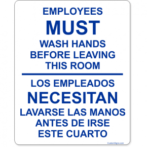 "Bilingual Employees Must Wash Hands Before Leaving Full Color Sign | 10"" x 8"""