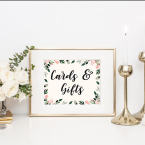 Blush Floral Gift Table Sign