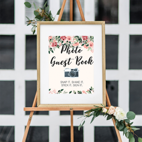 Blush Floral Photo Guest Book Sign