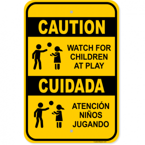 "Caution Bilingual Children At Play Aluminum Sign | 18"" x 12"""