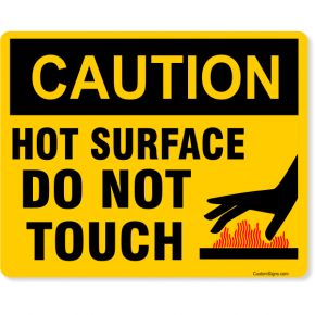 "Caution Hot Surface Color Sign | 8"" x 10"""