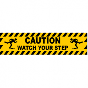 "Caution Watch Your Step Icons Decal | 6"" x 24"""