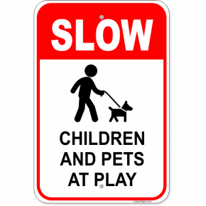 "Children Pets At Play Aluminum Sign | 18"" x 12"""