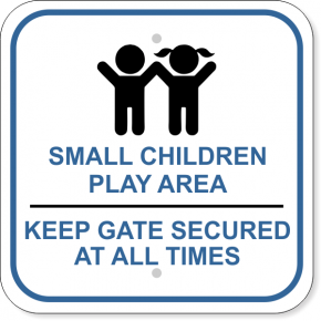 Children Play Area Lock Gate Aluminum Sign