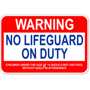 "Custom Age Warning No Lifeguard Aluminum Sign | 12"" x 18"""
