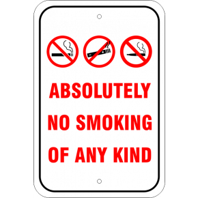 Custom No Smoking, E-Cig, Vaping Aluminum Sign