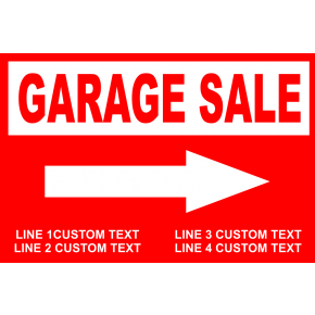 "Customized Garage Sale Yard Sale Sign with Stake - 18"" x 24"""