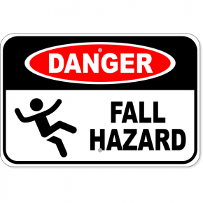 "Danger Fall Hazard Aluminum Sign | 12"" x 18"""