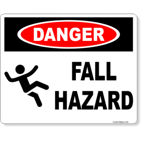 "Danger Fall Hazard Full Color Sign | 8"" x 10"""