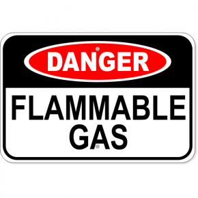 "Danger Flammable Gas Aluminum Sign | 12"" x 18"""