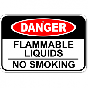 "Danger Flammable Liquids No Smoking Aluminum Sign | 12"" x 18"""