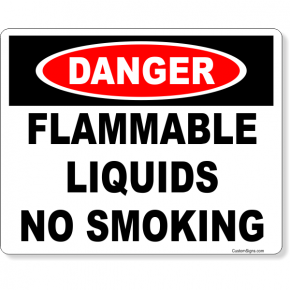 "Danger Flammable Liquids No Smoking Full Color Sign | 8"" x 10"""