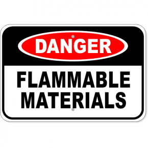"Danger Flammable Materials Aluminum Sign | 12"" x 18"""