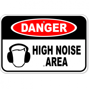 "Danger High Noise Area Aluminum Sign | 12"" x 18"""