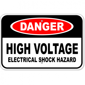 "Danger High Voltage Electrical Shock Hazard Aluminum Sign | 12"" x 18"""