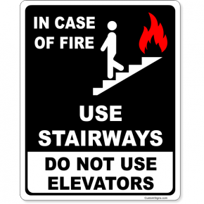 "Do Not Use Elevators In Case of Fire Full Color Sign | 10"" x 8"""