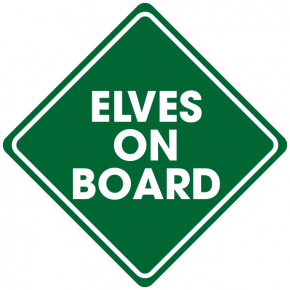 Elves on Board Holiday Window Decal | 5x5