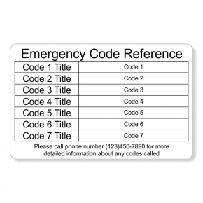 Emergency Code Horizontal Wallet Reference Card