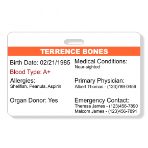 Emergency Health Information Horizontal Wallet Reference Card
