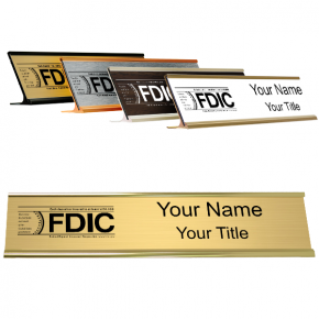 """Engraved FDIC Name Plate with Aluminum Desk Holder 