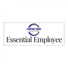 "Essential Employee With Logo Decal | 3"" x 8"""