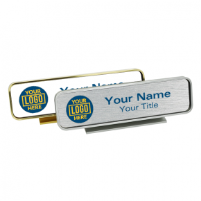 Desk Name Plate Holder with Full Color Insert (Rounded Corners) 2 in x 8 in