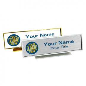 Executive Desk Name Plate Holder with Full color Insert (Square Corners) 2 in x 8 in