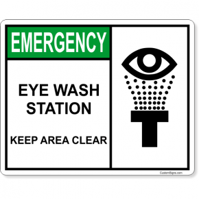 "Eye Wash Station Keep Area Clear Full Color Sign | 8"" x 10"""