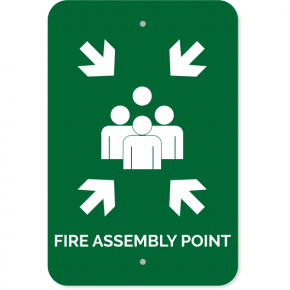 "Fire Assembly Point Aluminum Sign | 18"" x 12"""