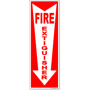 "Fire Extinguisher Down Arrow Full Color Decal | 12"" x 4"""