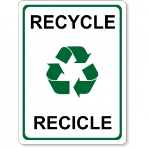 "Full Color Bilingual Recycle Sign | 8"" x 6"""