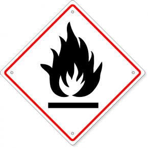 "GHS Flammable Hazard Plastic Sign | 10"" x 10"""