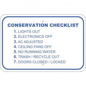 Horizontal Conserve Before Leaving Checklist Sign