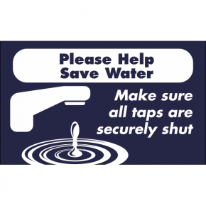 Horizontal Taps Shut Conserve Water Sign