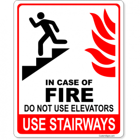 """In Case of Fire Do Not Use Elevators Icon Full Color Sign 
