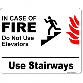 "In Case of Fire Use Stairways Icon Full Color Sign | 8"" x 10"""